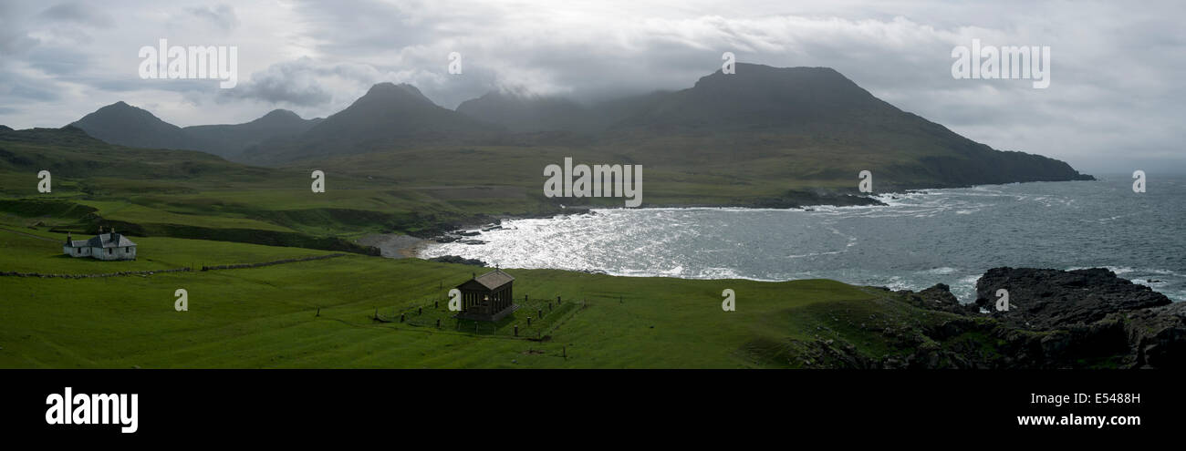 Panorama of the Rum Cuillin hills, with Harris Lodge and the Bullough Mausoleum, Harris Bay, Isle of Rum, Scotland, Stock Photo