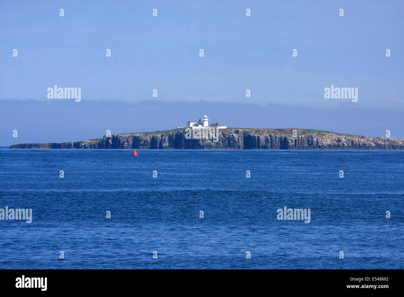 Lighthouse on Inner Farne Isle Northumberland Stock Photo