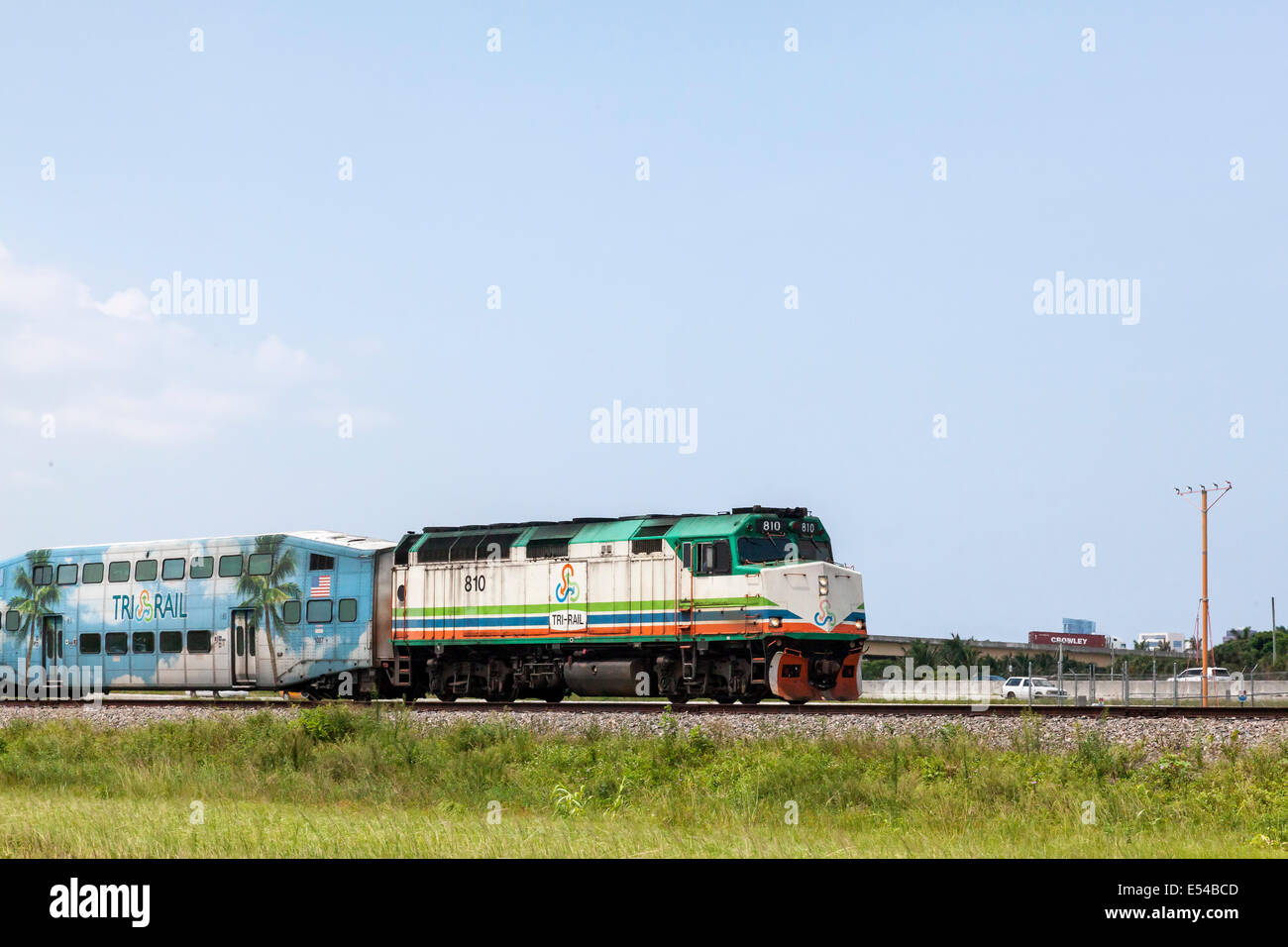 Engine pulling Tri Rail regional rail service train between Miami, Fort Lauderdale, and West Palm Beach in South Stock Photo