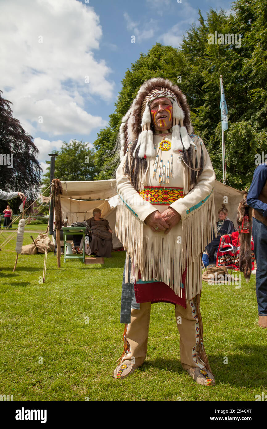 Leek, Staffordshire, England, UK. Man dressed as Native American Indian Chief as part of a Western Weekend. Stock Photo