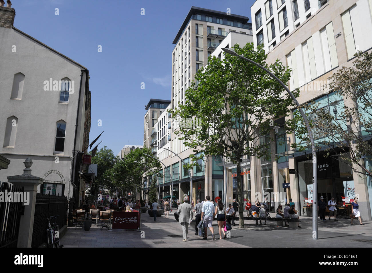 People walking on the Hayes shopping precinct in Cardiff city centre, Wales UK - Stock Image