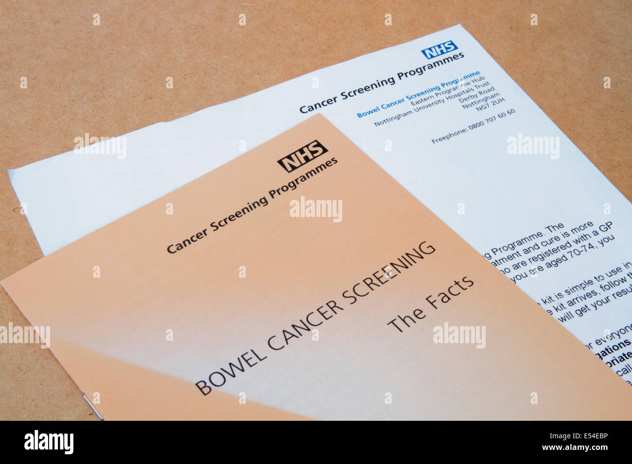 Uk Nhs Bowel Cancer Screening Programme Notification Letter Plus Stock Photo Alamy
