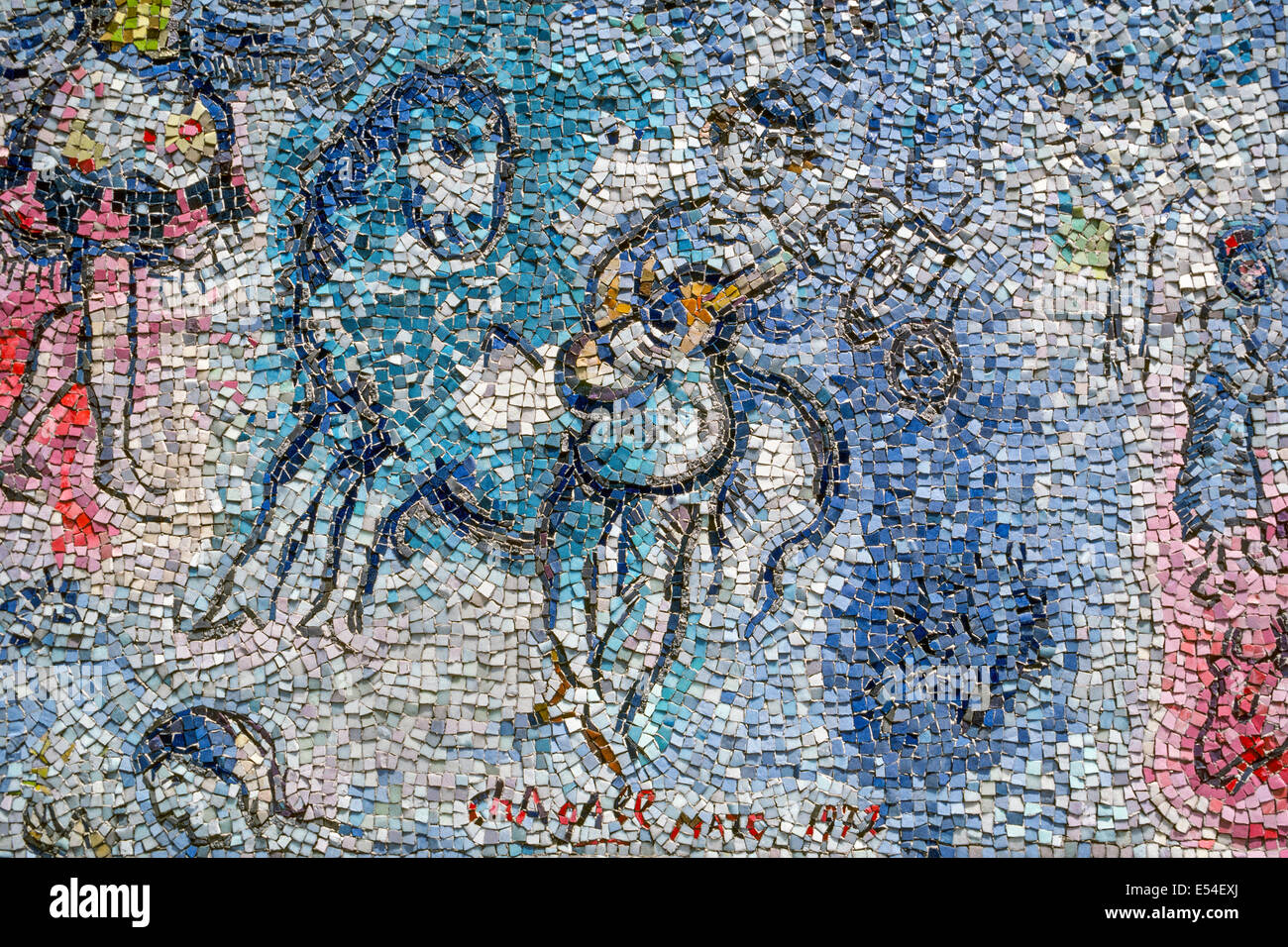 'The Four Seasons' mosaic by French artist Marc Chagall is one of the most monumental works of outdoor public - Stock Image