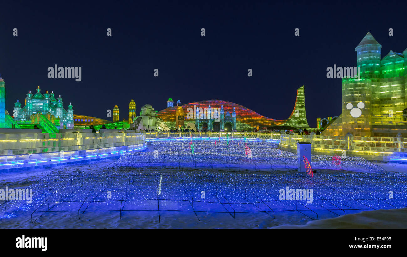 Star field and multi-colored ice structures, International Ice Festival, Harbin, China - Stock Image