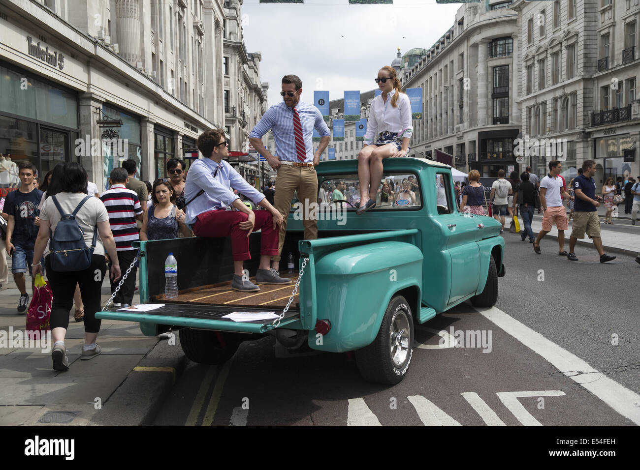 London, UK. 20th July, 2014. Regent Street Traffic-Free Sundays in July, Chevrolet Pick-up exhibit, Regent Street - Stock Image