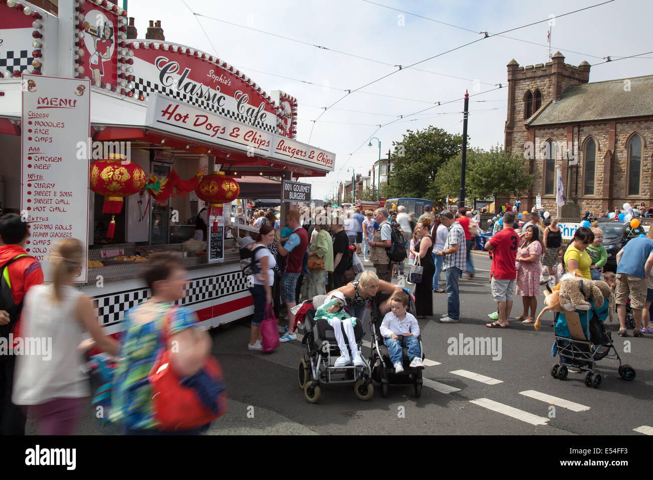 Fleetwood, Lancashire, 20th July, 2014. Classic Cafe at Fleetwood Festival of Transport. This event took place for - Stock Image
