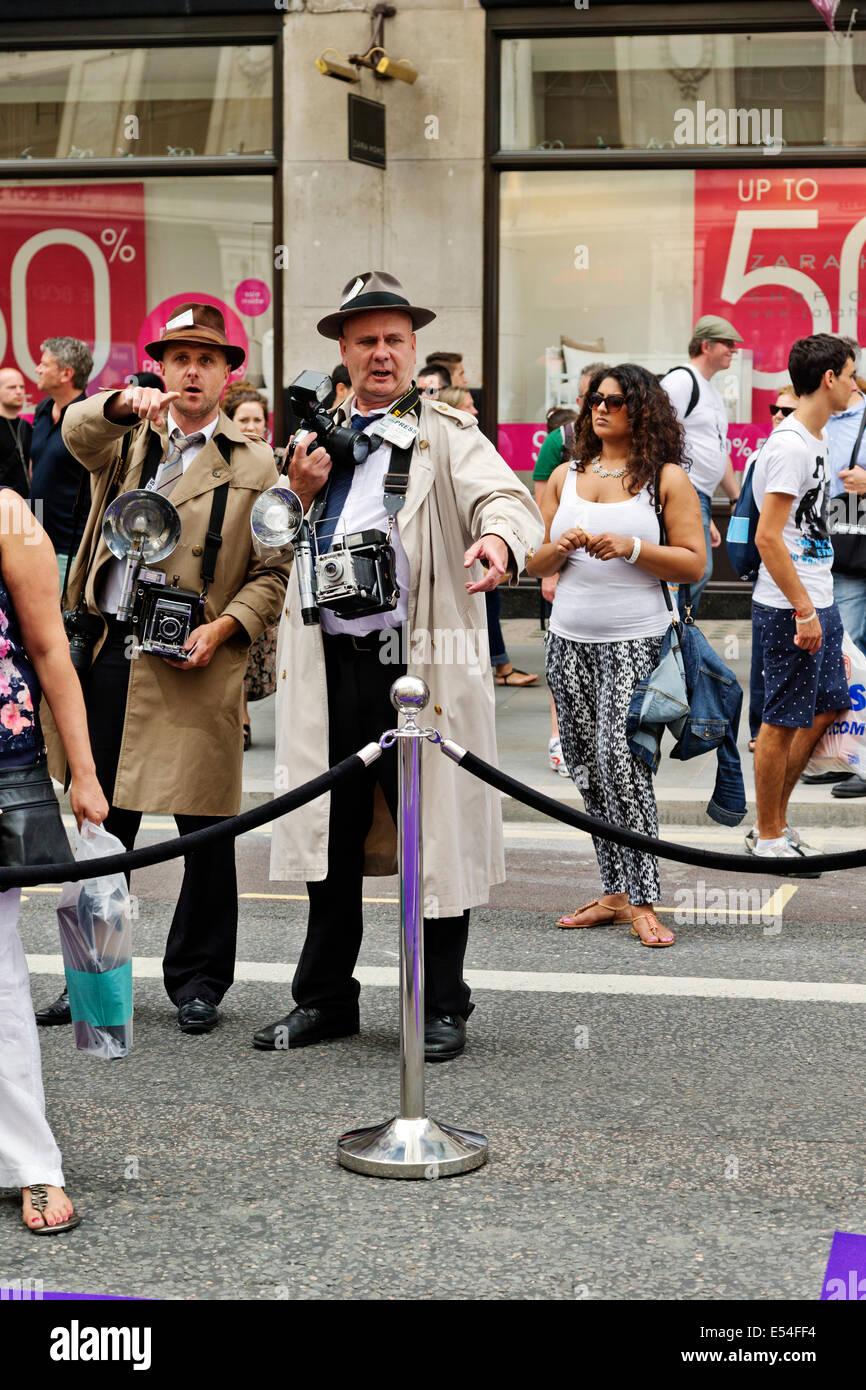 London, UK. 20th July, 2014. Regent Street Traffic-Free Sundays in July Event, Vintage Press Photographers Regent - Stock Image