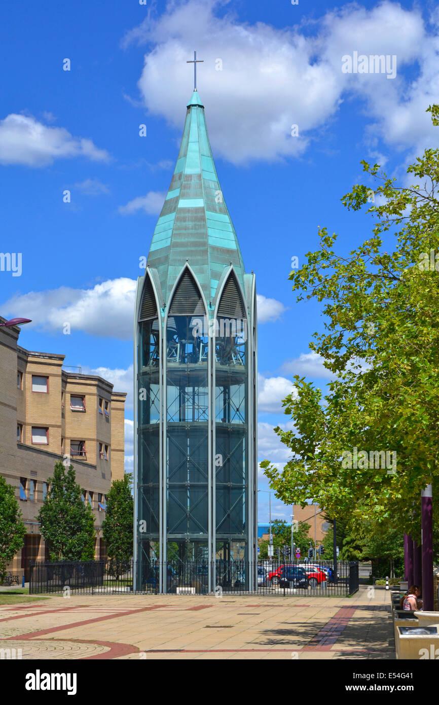 Basildon new town  St Martins church freestanding glass Bell Tower - Stock Image