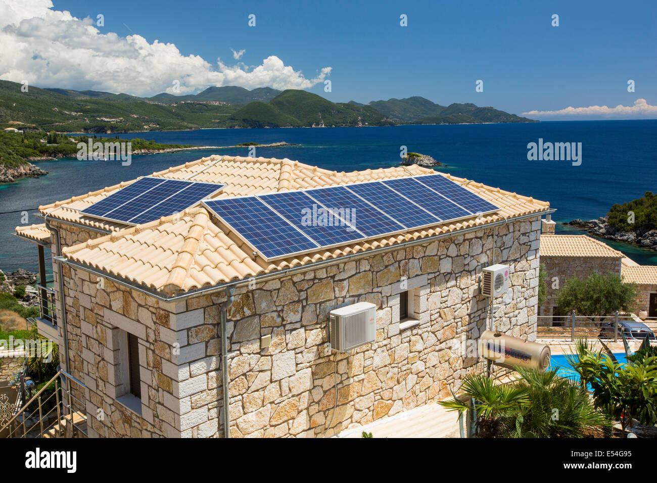 Solar Panels On House In Sivota Greece Stock Photo