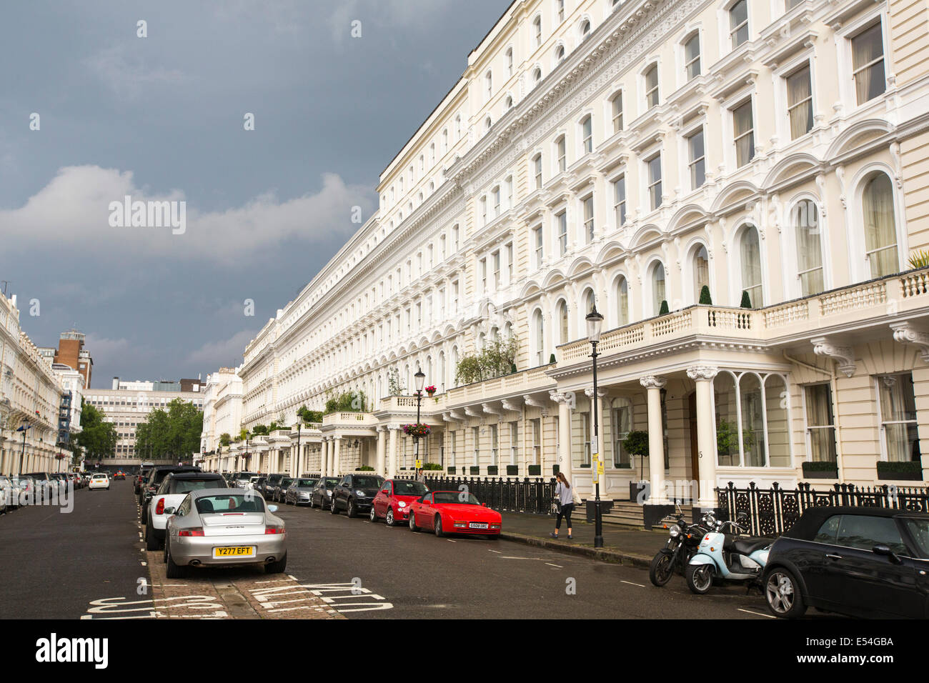 Queens Gate terrace, an exclusive address of very expensive houses in SW7 , London, UK. - Stock Image