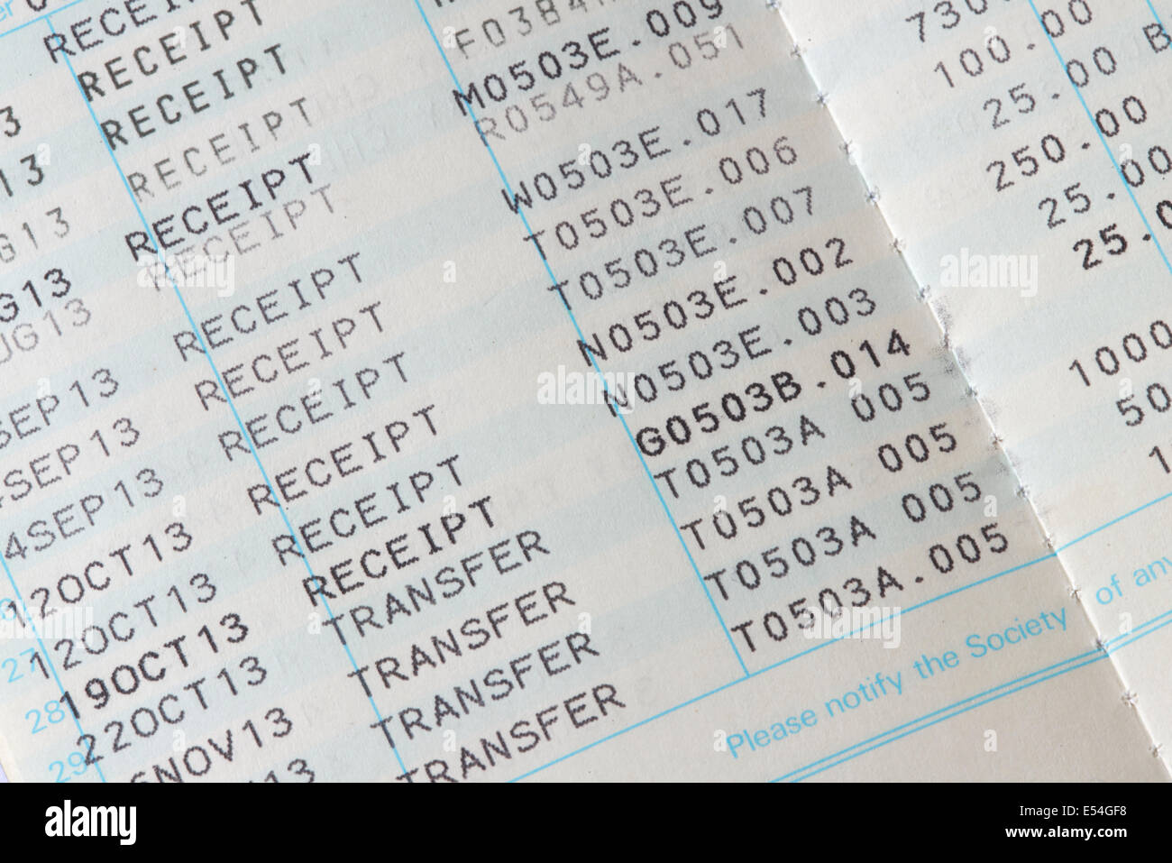 Inside Pages Showing Receipts Of Money In A Building Society Savings Book - Stock Image