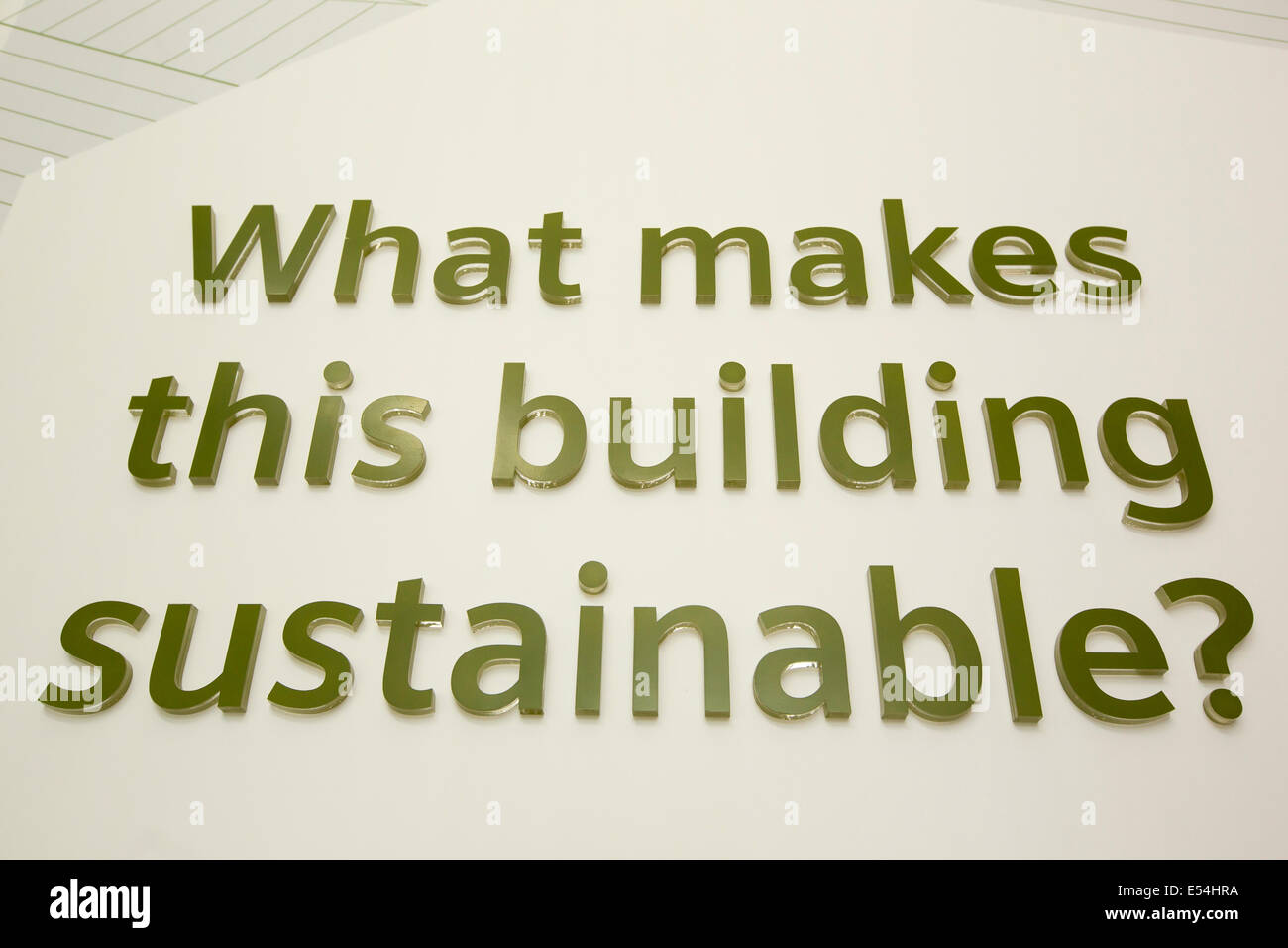 A sustainability exhibition at the Crystal building which is the first building in the world to be awarded an outstanding - Stock Image