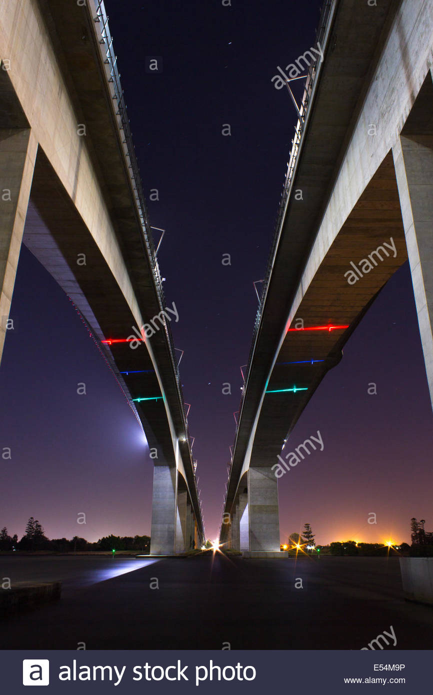 The two Gateway bridges in Brisbane Australia - Stock Image
