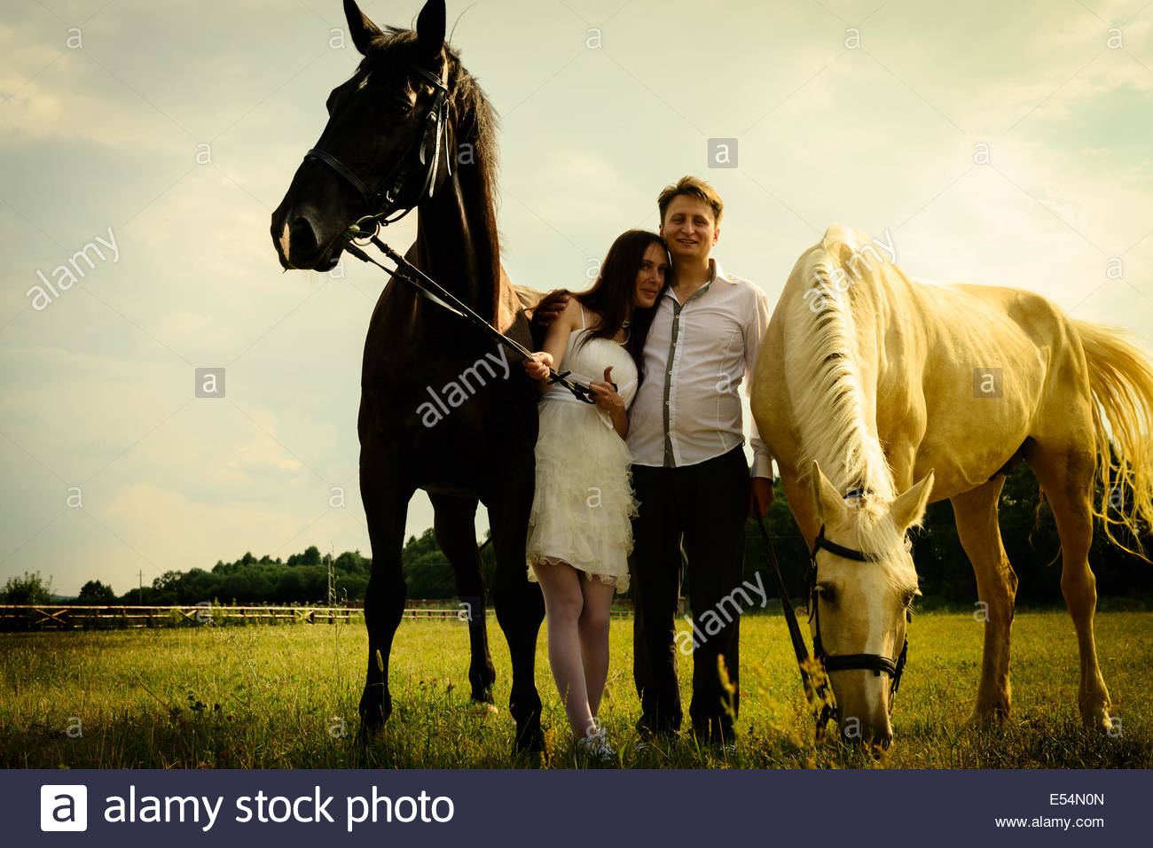 wedding of unusual couple happy near black and white horses - Stock Image