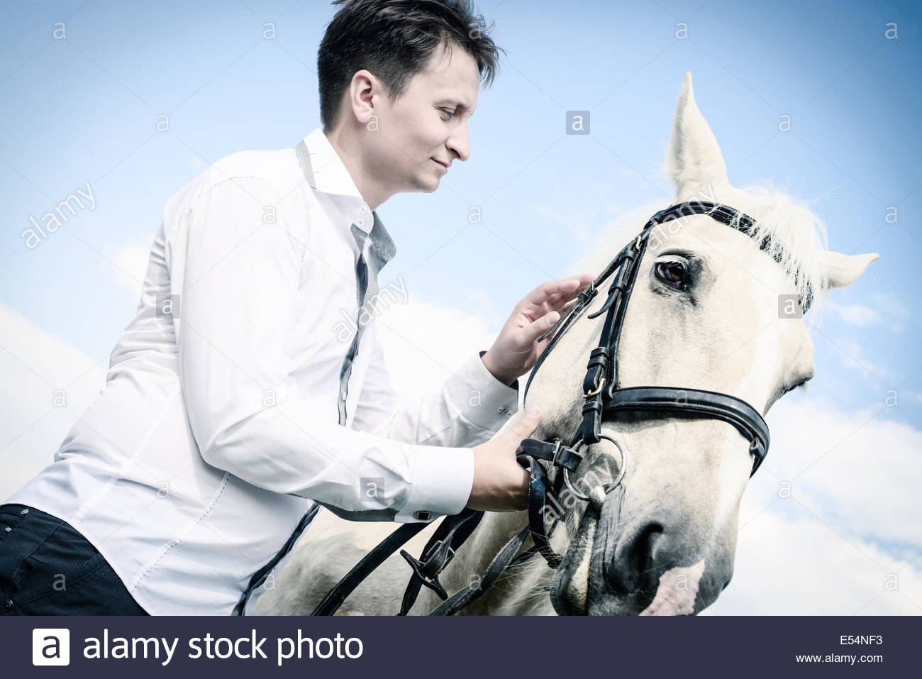 unusual groom at a wedding on white horse outdoors - Stock Image
