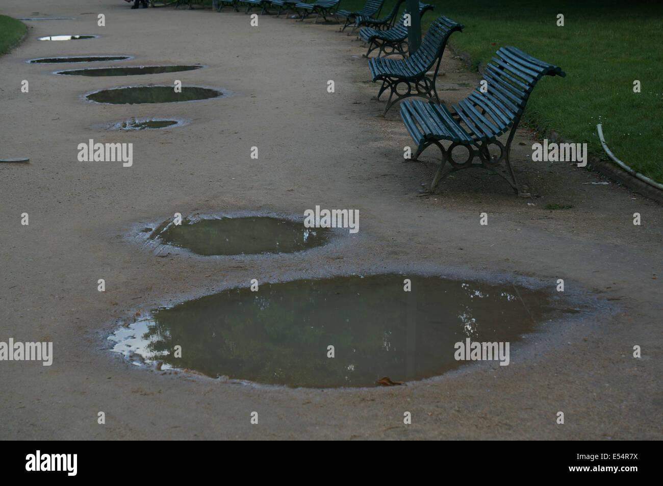Puddles reflect trees with a line of seats after rain wait in Jardin des Champs Elysees Paris - Stock Image
