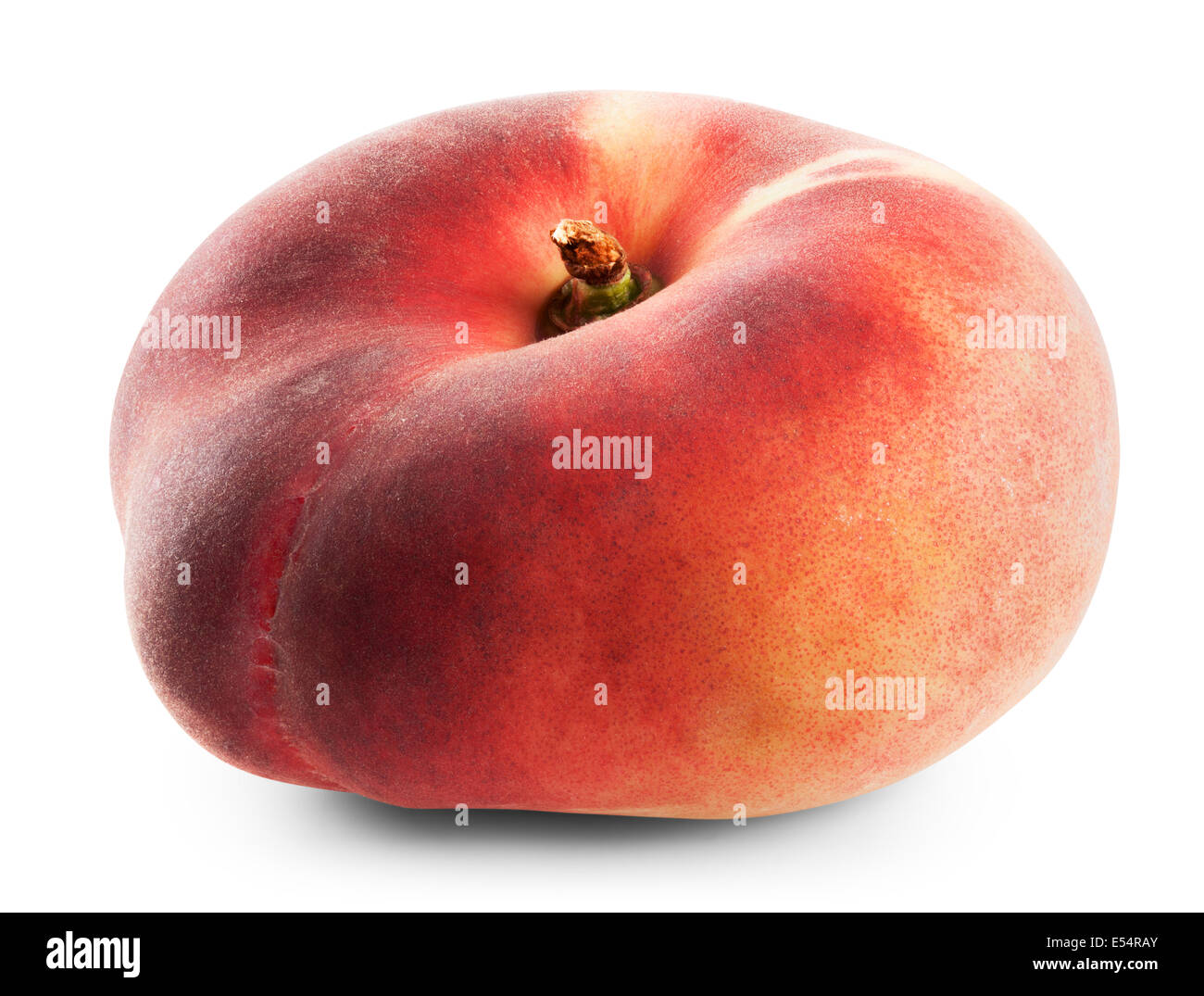 fig peach on a white background. Clipping Path - Stock Image