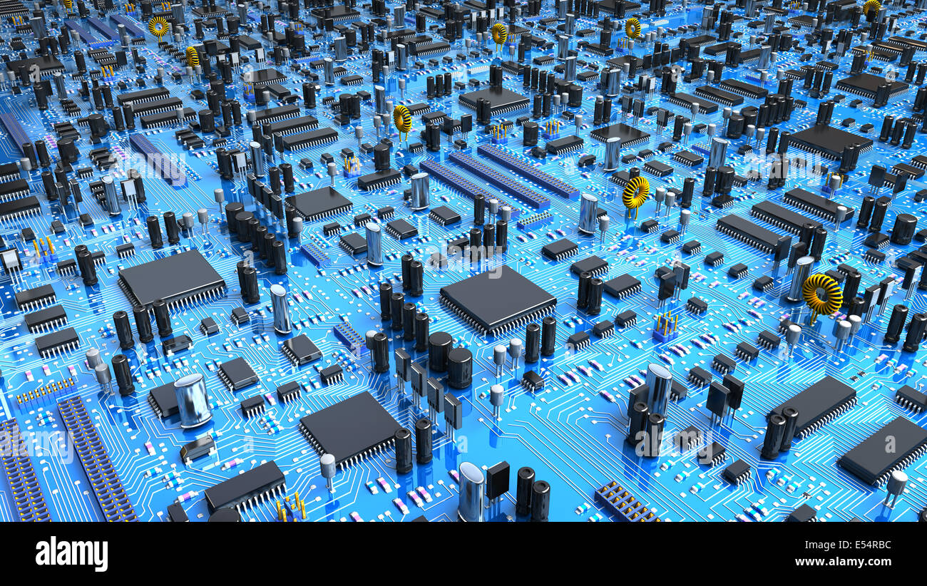 Electronic Board Technology Stock Photos Glass On The Schematic Diagramideal Background Fantasy Circuit 3d Illustration Image