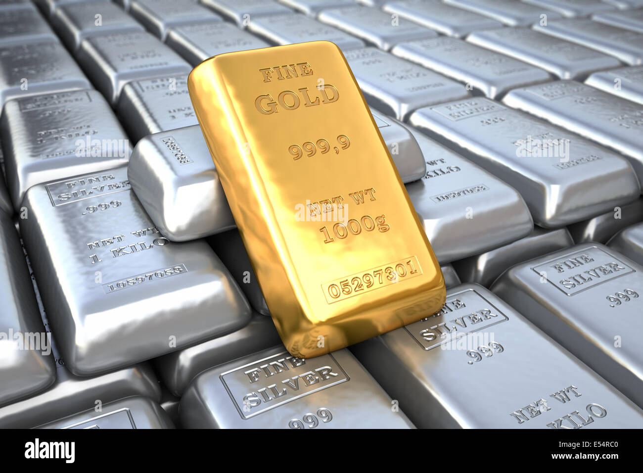 Silver ingot and  gold bullion. Finance illustration - Stock Image