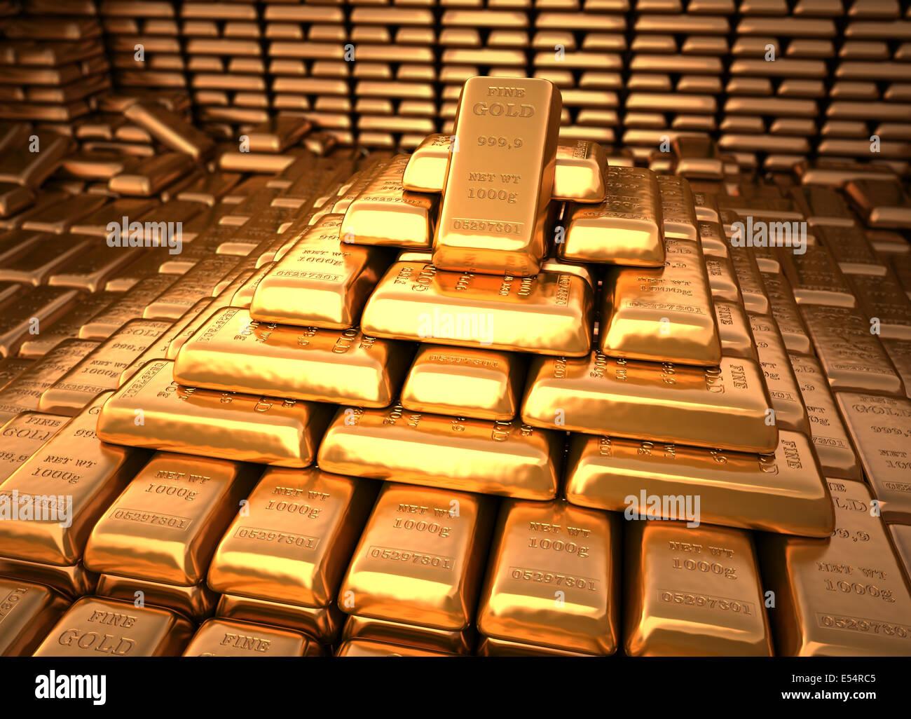 Bank vault filled with gold bullion. Finance illustration - Stock Image