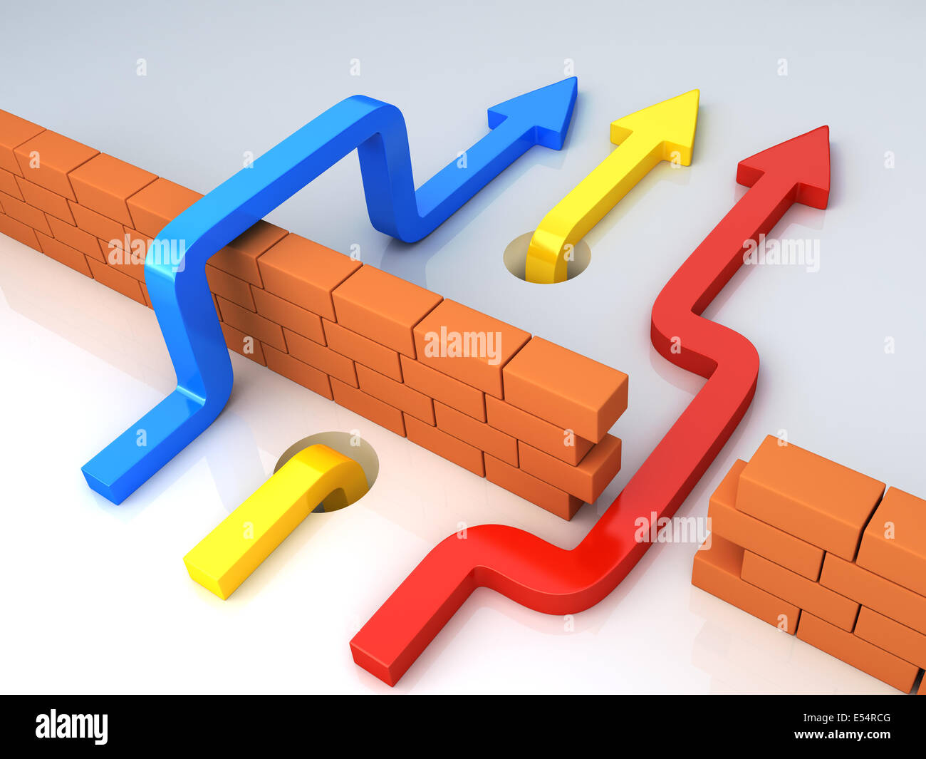 Business overcomes obstacles. conceptual  illustration - Stock Image