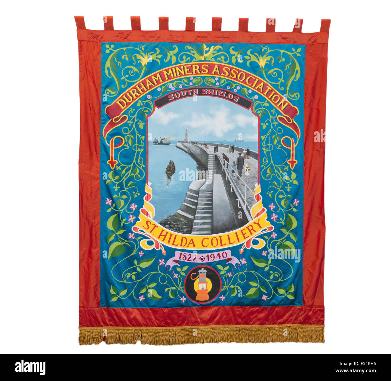 Durham Miners' Association St Hilda Colliery banner, seen at Bede's World, Jarrow, north east England, UK - Stock Image