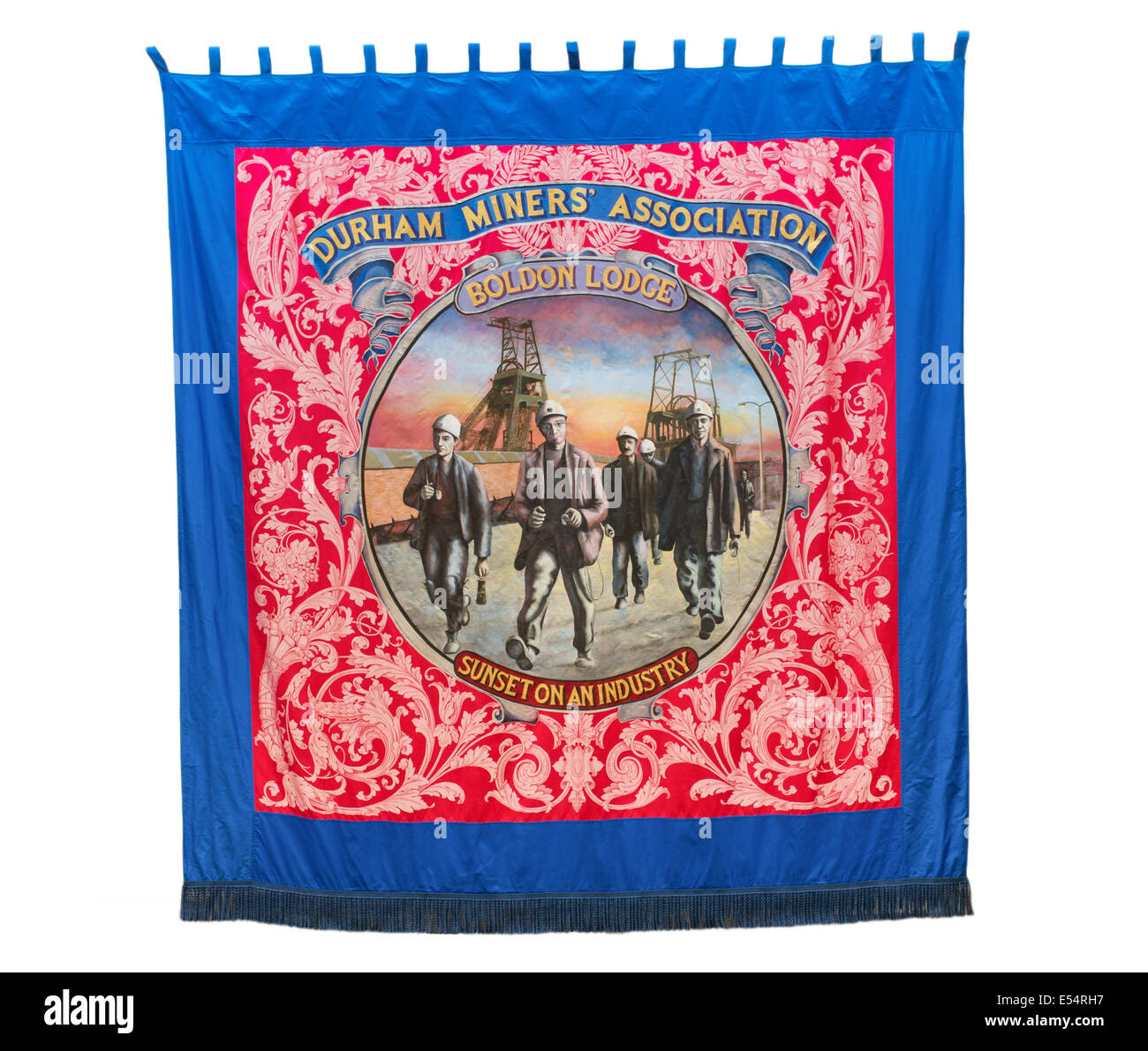 Durham Miners' Association Boldon Lodge banner, seen at Bede's World, Jarrow, north east England, UK - Stock Image