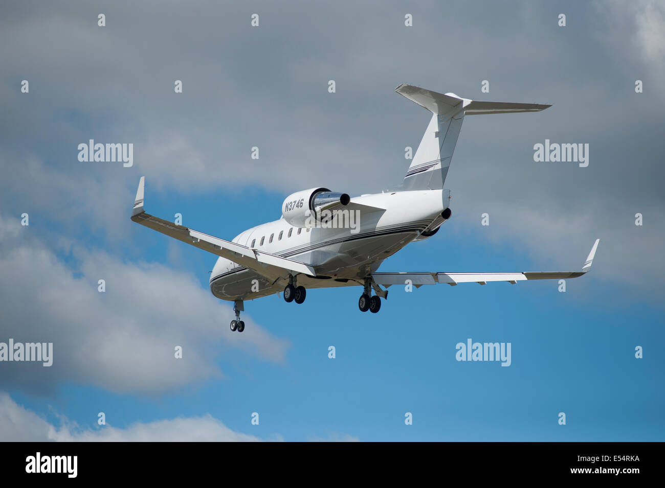 Canadair Challenger jet VIP aircraft N3746 landing at Farnborough International Airshow 2014 - Stock Image