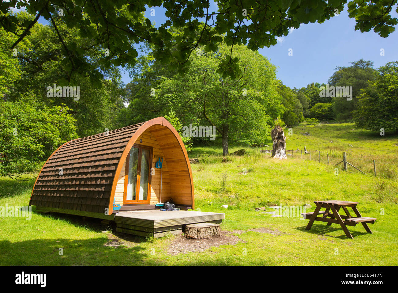 Camping pods in the grounds of Rydal Hall, Lake District, UK. - Stock Image
