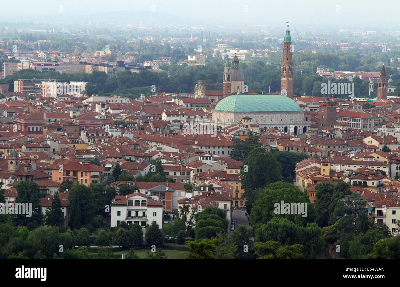 panoramic view of the city of Vicenza with the Basilica Palladiana and the high tower - Stock Image