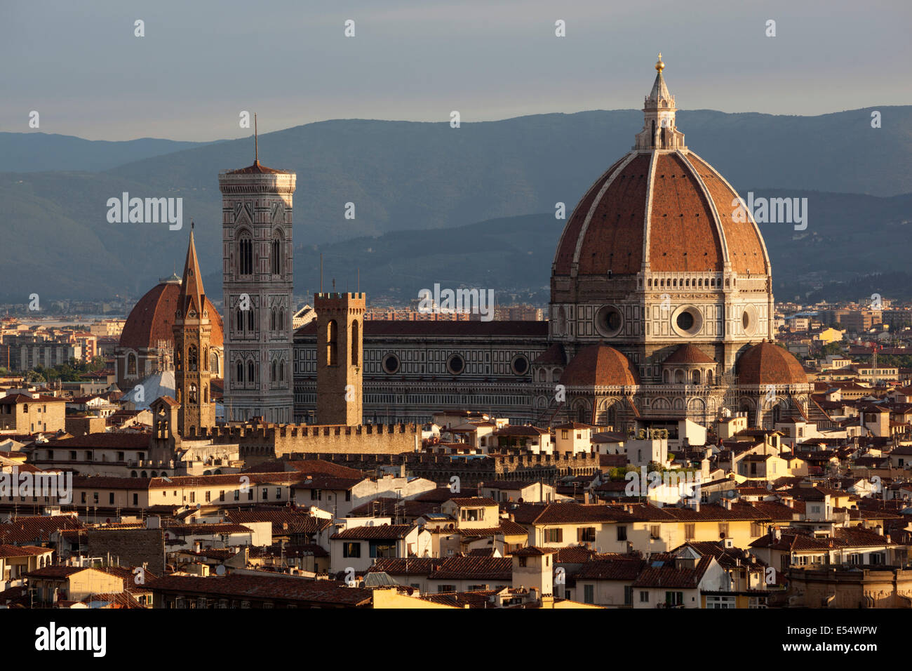 The Duomo at sunrise from Piazza Michelangelo, Florence, Tuscany, Italy, Europe - Stock Image