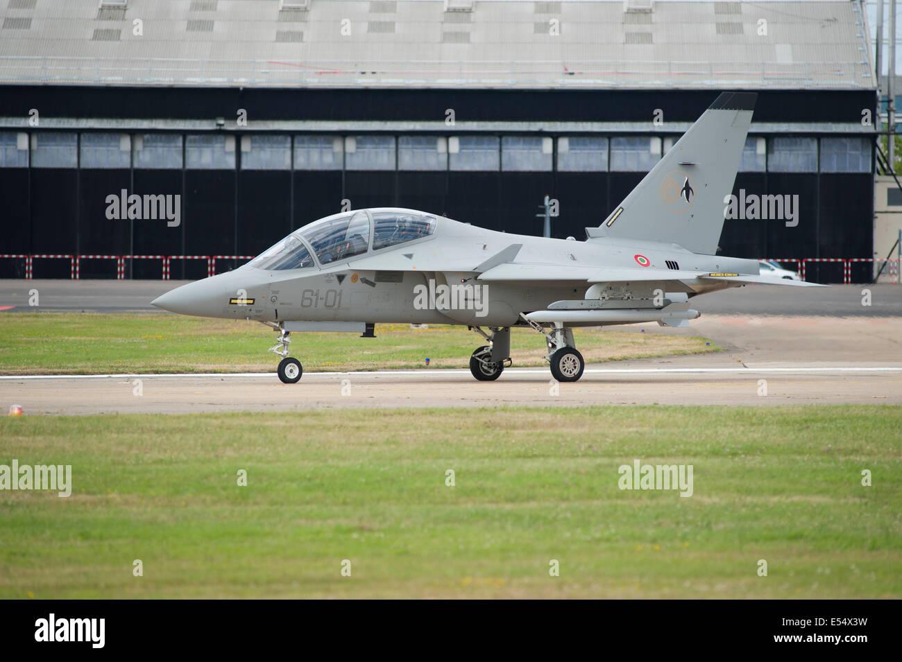 Alenia Aermacchi M-346 Master military trainer, Farnborough International Airshow 2014 - Stock Image
