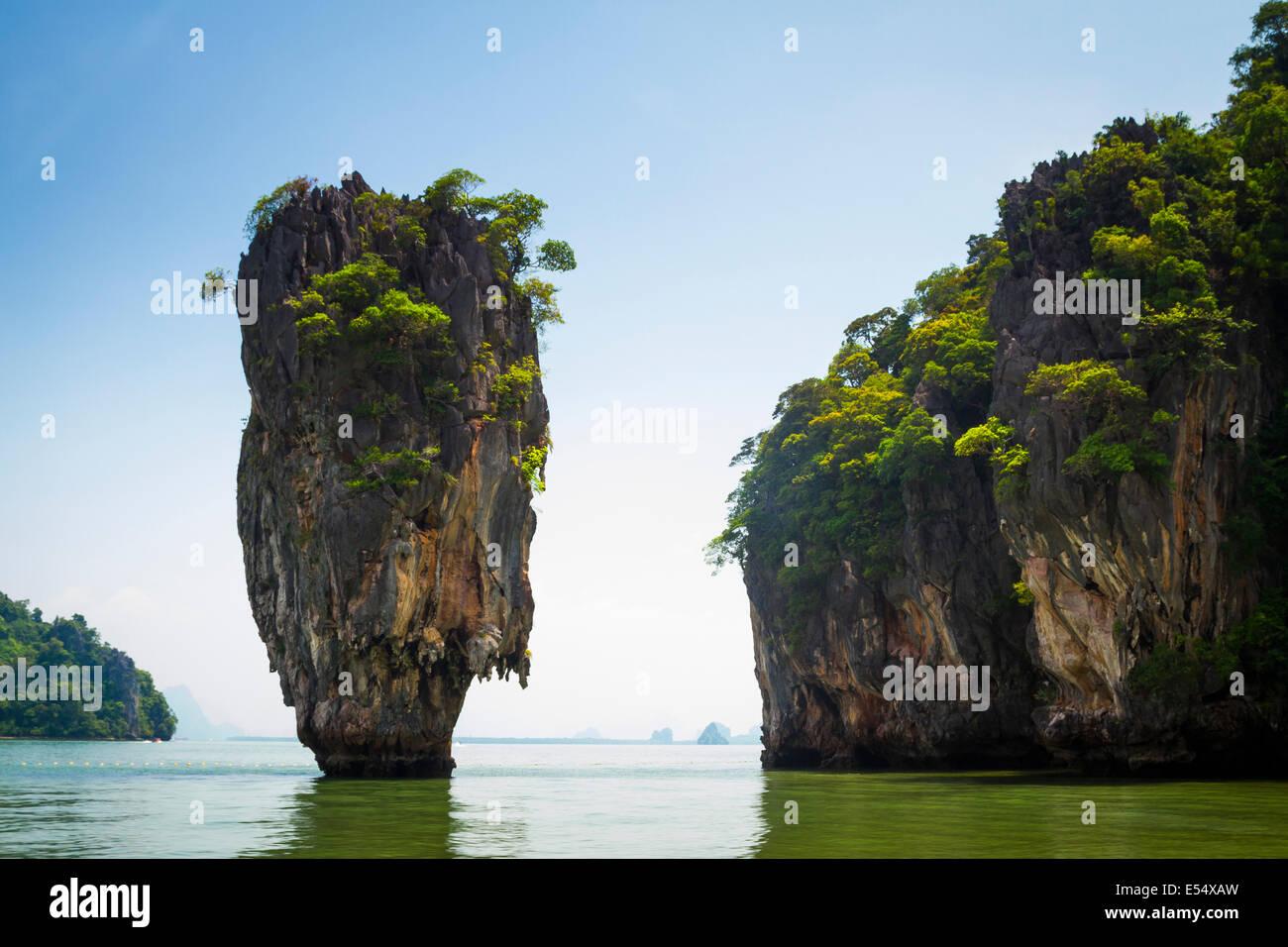 Ko Tapu or James Bond island. Phang Nga Bay. Phang Nga province. Andaman Sea, Thailand, Asia. - Stock Image