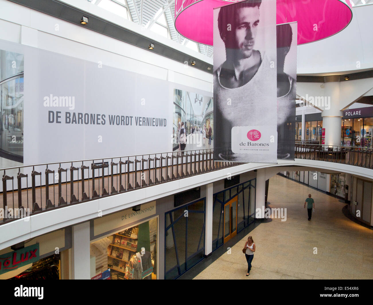 Luxury shopping mall de Barones in Breda, the Netherlands, is almost deserted these days. - Stock Image