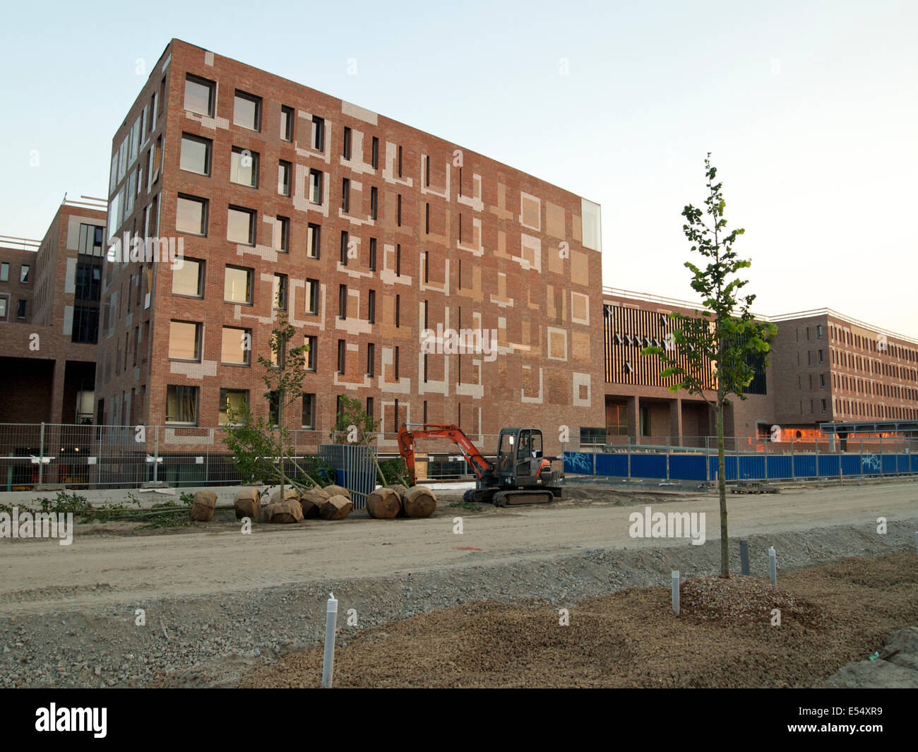 Breda central station nearing completion with the access road being constructed and trees to be planted. The netherlands Stock Photo