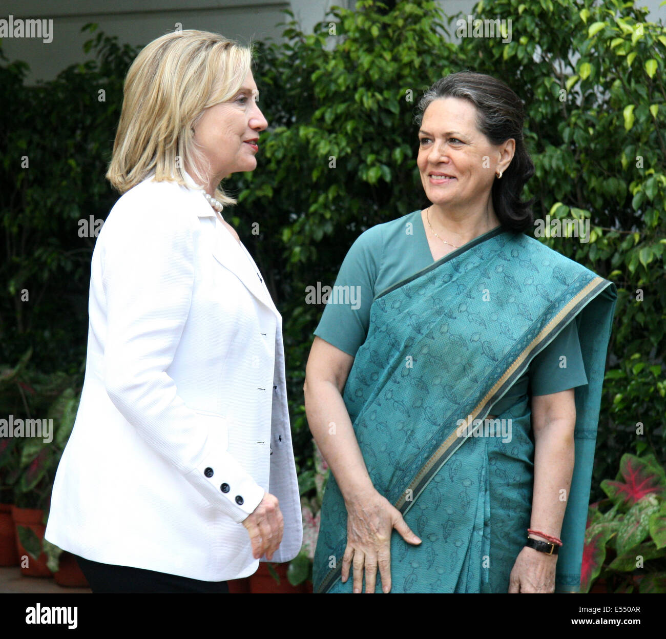 US Secretary of State Hillary Rodham Clinton meets Indian National Congress Party President Sonia Gandhi July 19, - Stock Image