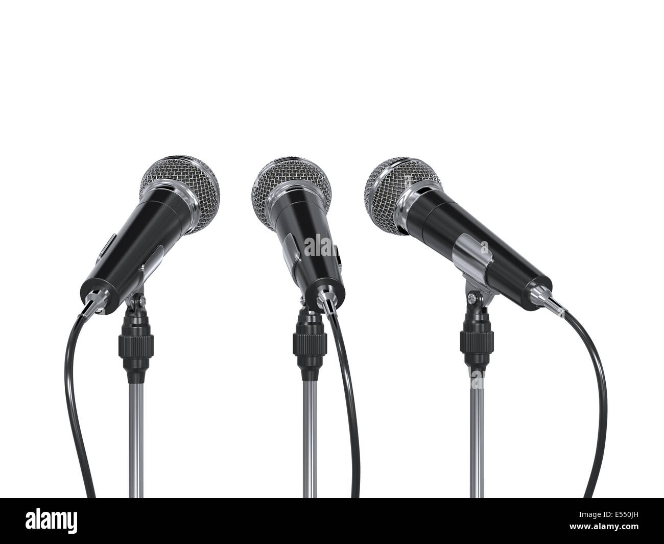 3d render of microphones isolated on white background - Stock Image