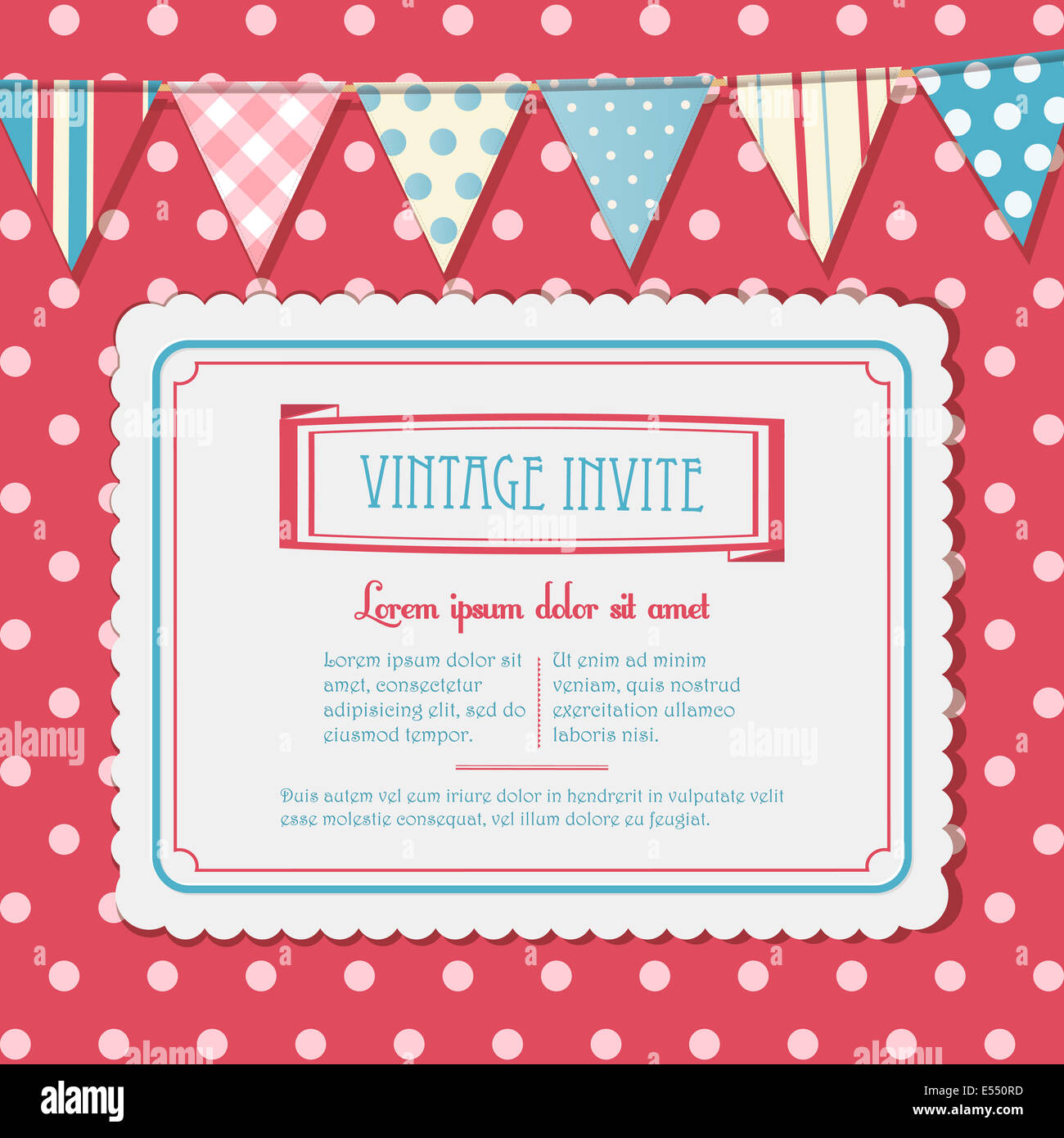 Vintage Vector Invite on a Pink Polka Dot Background with Bunting - Stock Image