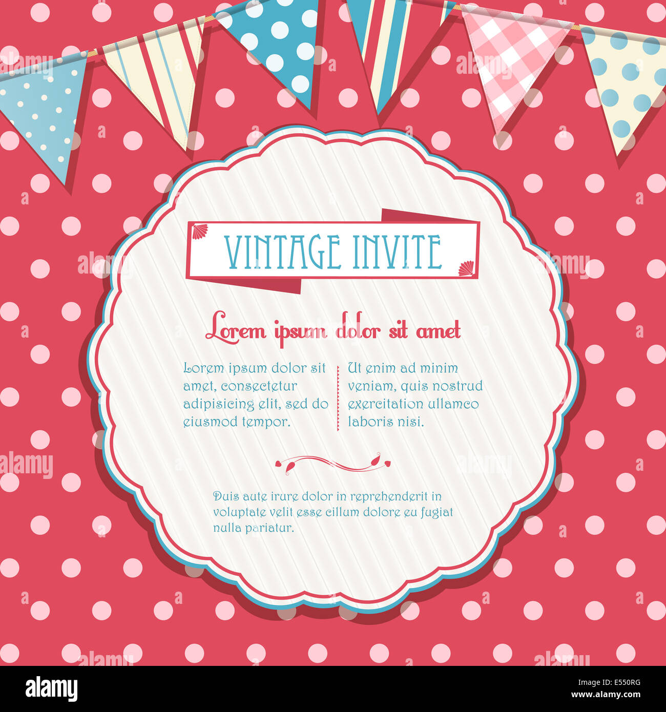 Circular Invite Vector on a Pink Polka Dot Background with Bunting - Stock Image