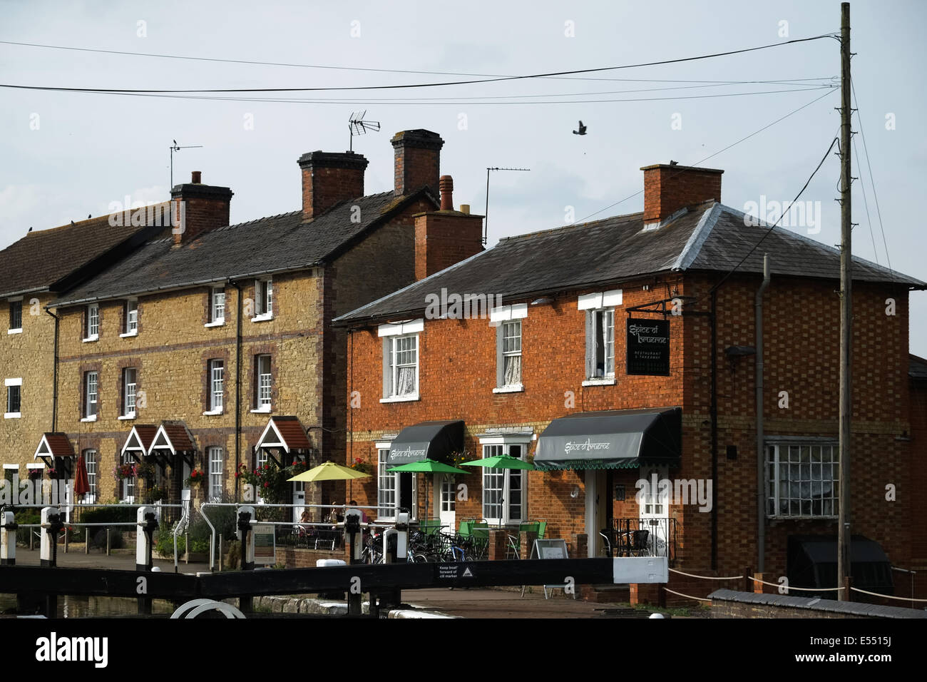 Stoke Bruerne, Northamptonshire and the Spice of Bruerne Indian Restaurant - Stock Image