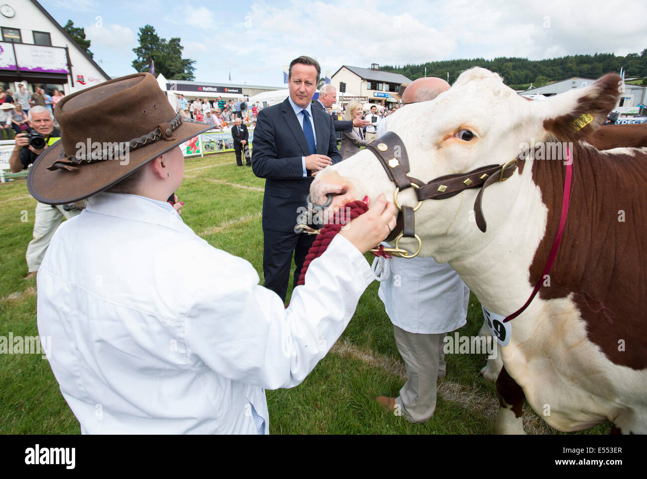 Prime Minister David Cameron meets Cattle Farmers at the Royal Welsh Show, Builth Wells Stock Photo