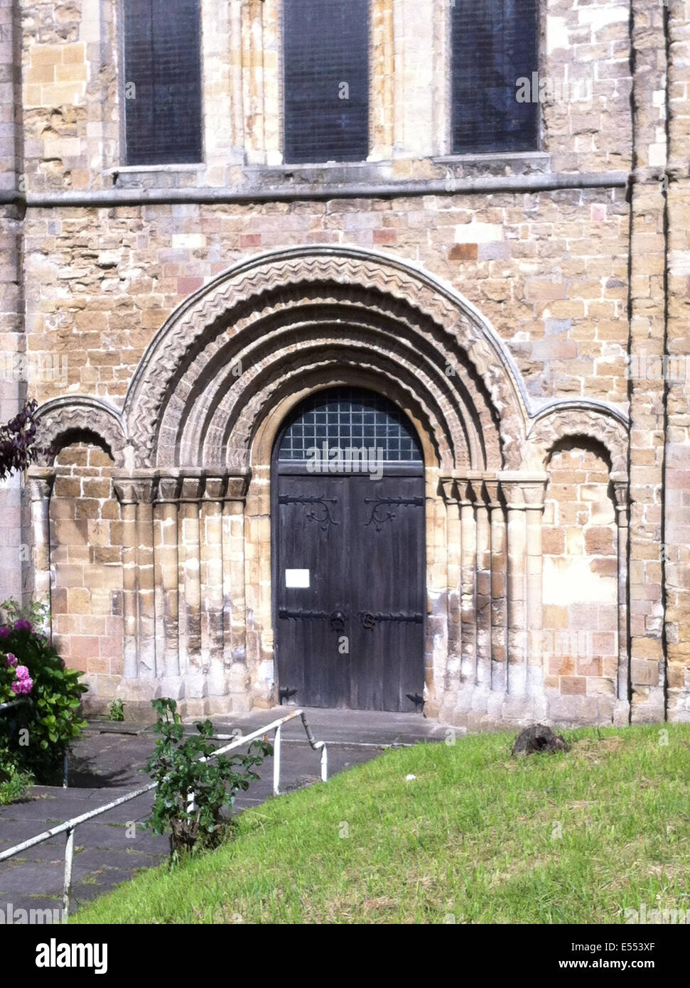 CHEPSTOW, Wales. Norman doorway of St Mary's Church. Photo Tony Gale - Stock Image