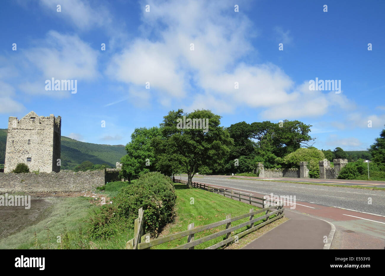 WARRENPOINT, Northern Ireland. Narrow Water Castle opposite the gate lodge.Site of the 1979 Massacre by the IRA. - Stock Image
