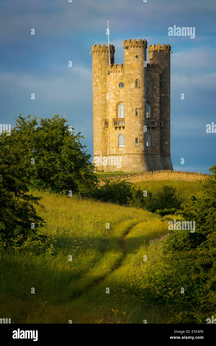 Early morning at Broadway Tower, the Cotswolds, Worcestershire, England Stock Photo
