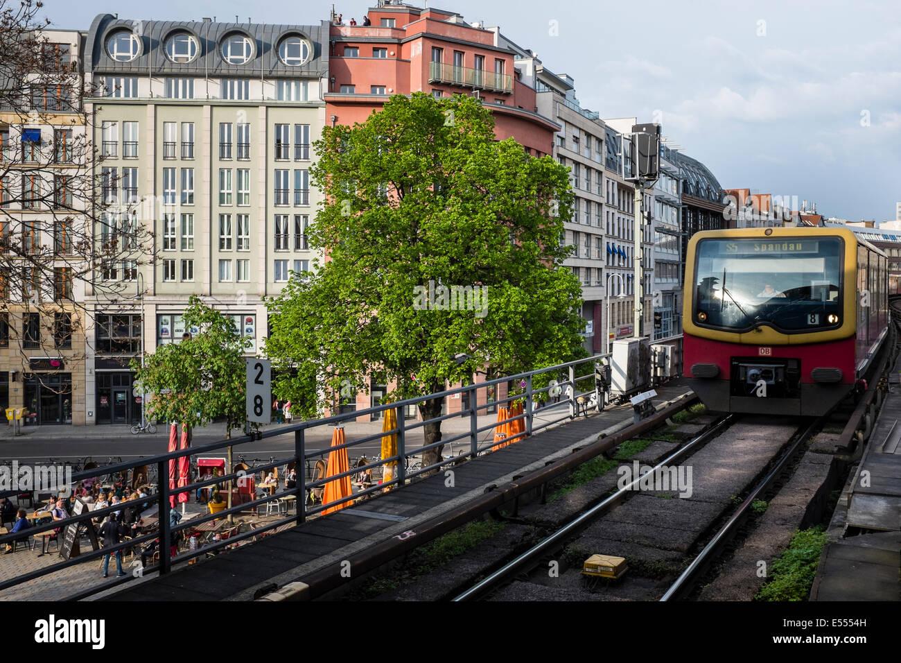S-Bahn at Hackescher Markt, Berlin, Germany Stock Photo