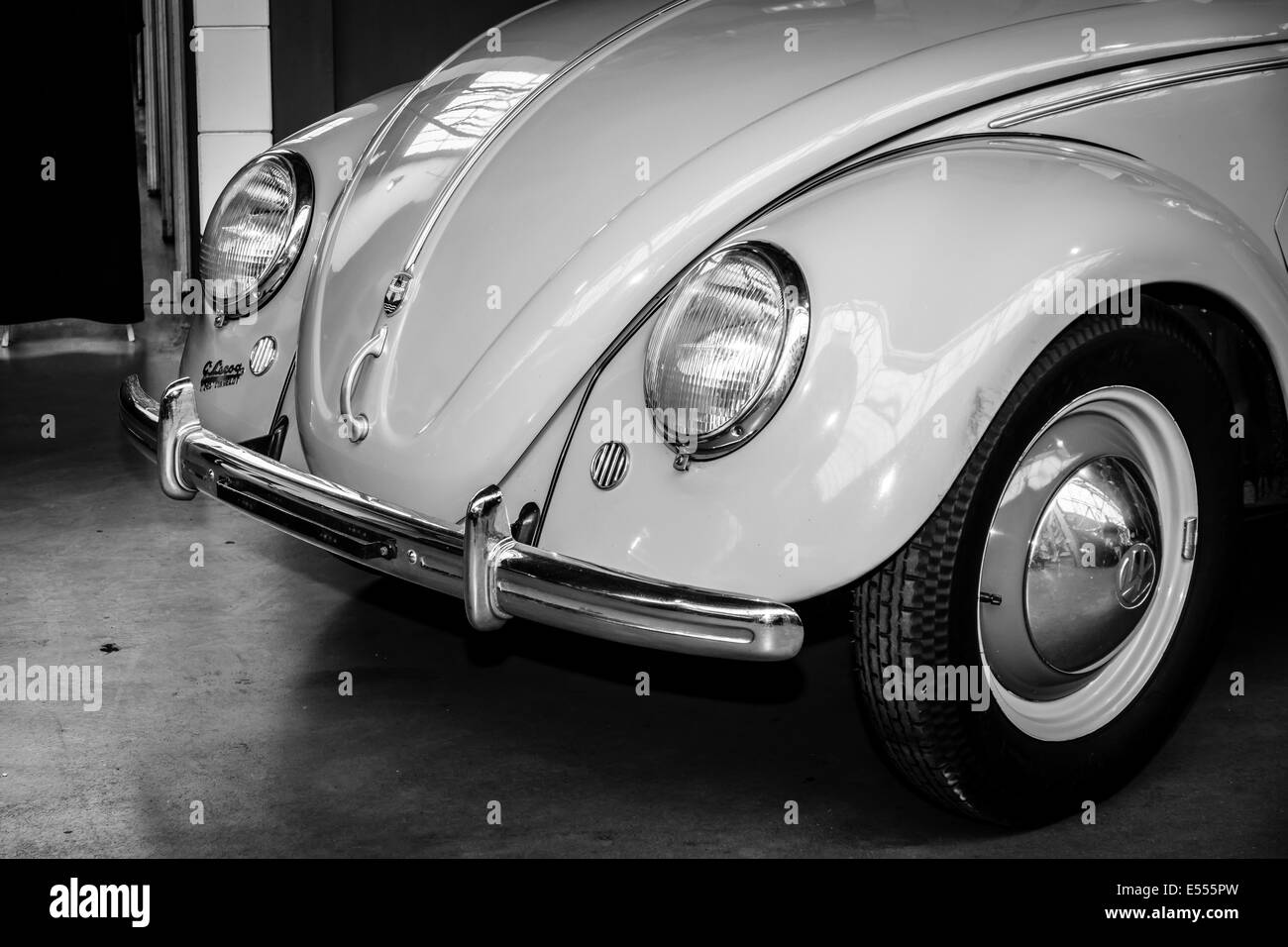 Detail of the subcompact Volkswagen Beetle, Typ 11a, Export (Brezelkaefers). Black and white. 27th Oldtimer Day - Stock Image