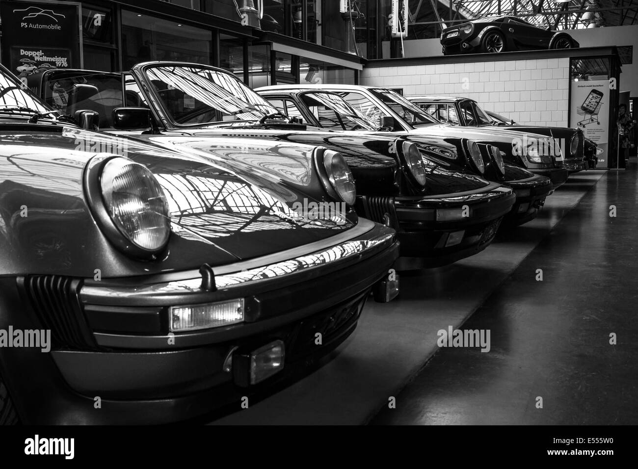 Various oldtimers 60-70s standing in a row. Black and white. 27th Oldtimer Day Berlin - Brandenburg - Stock Image