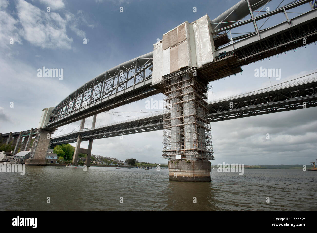 Scaffolding covers the support pillars of The Royal Albert Railway Bridge designed by Isambard Kingdom Brunel. - Stock Image
