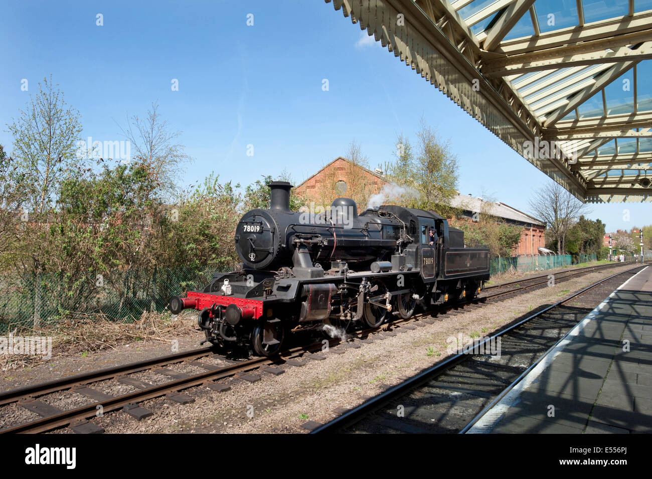 British Railways Riddles designed Mogul 2-6-0 steam locomotive number 78019  on the preserved Great Central Railway, - Stock Image
