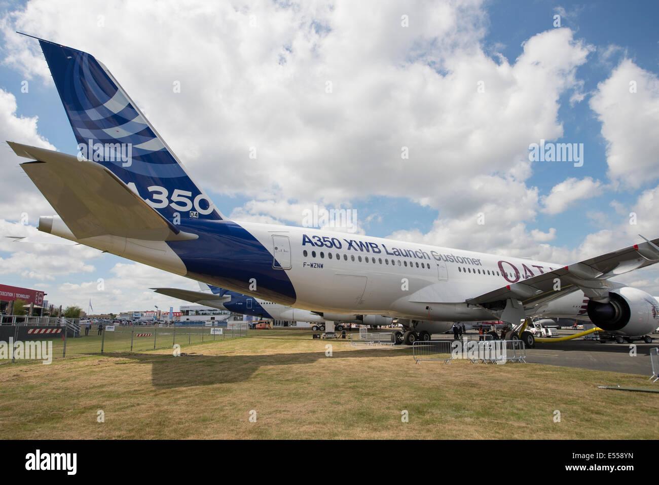 Airbus A350 XWB Launch Customer aircraft, Qatar Airways, Farnborough International Airshow 2014 - Stock Image